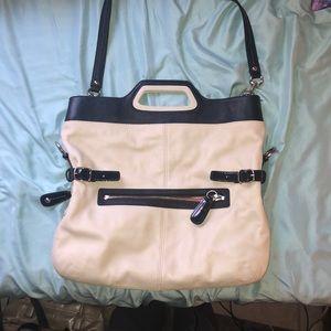 Cream with Navy Coach bag